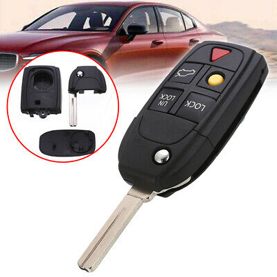 New 5 Button Flip Remote Key Fob Case Shell for VOLVO S60 S80 V70 XC70 XC90