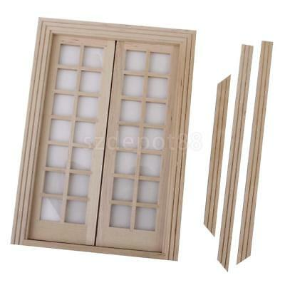 Vintage Dollhouse Miniature Double French Wood Doors u0026 Frame DIY Accessory  sc 1 st  PicClick & VINTAGE DOLLHOUSE MINIATURE Double French Wood Doors u0026 Frame DIY ...