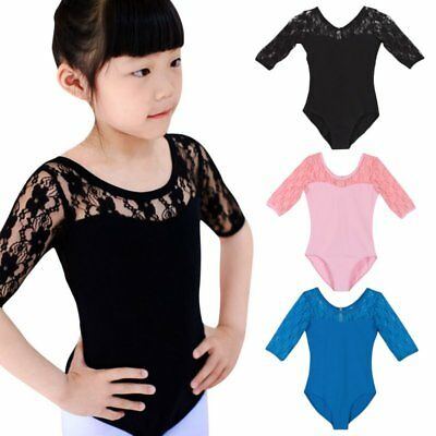 Kid Girls Ballet Dance Half Lace Sleeve Skirt Dancewear Leotard Dress Tops 4-16Y