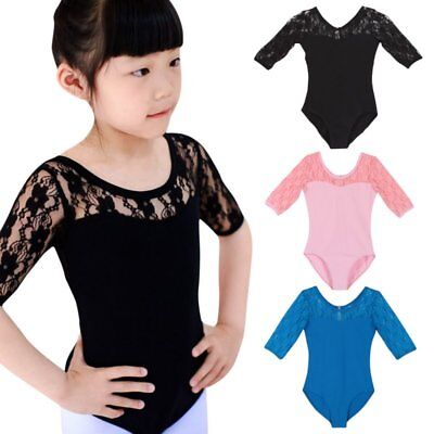 4228586dfbb5 KID GIRLS BALLET Dance Half Lace Sleeve Skirt Dancewear Leotard ...