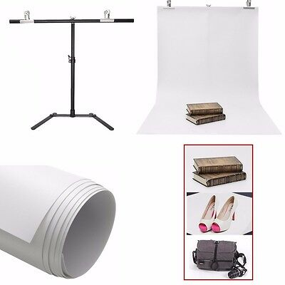 Background Support Metal Stand + White PVC Studio Photography Backdrop 125x60cm