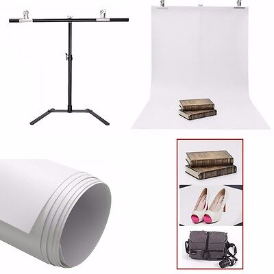 UK White Studio Photography Backdrop 130X68CM + Background Support Metal Stand