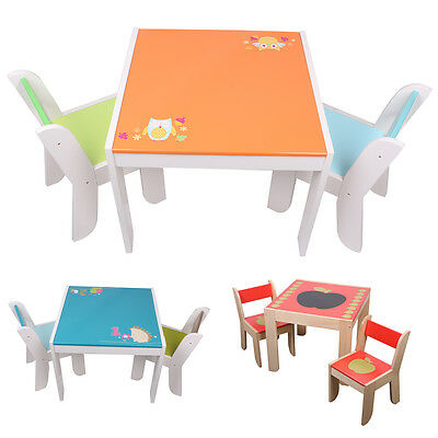 Labebe Wooden Table and 2 Chairs Set Children Study Furniture Set Toddler Gift