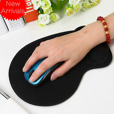 Comfy Black Anti-Slip Mouse Mice Pad Mat w/ Gel Wrist Support PC Macbook Laptop
