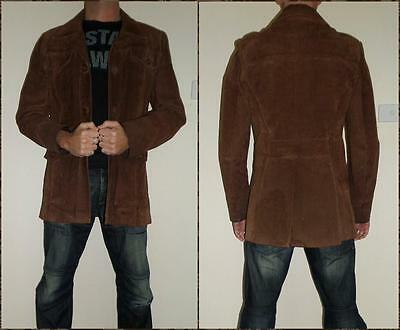 VINTAGE 70s BROWN SUEDE LEATHER JACKET mens S Starsky  Hutch PARTY coat DRESS UP