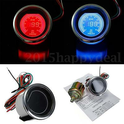 "Universal 2"" 52mm Auto Car LED Digital Oil Pressure Meter Gauge Red Blue Light"