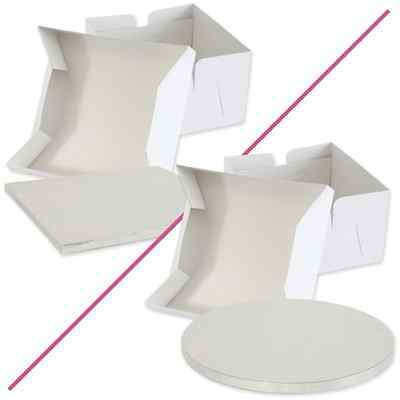 Cake Board / Drum And White Folding Cake Box with Lid