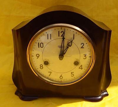 Antique bakelite Smiths Enfield mechanical mantel clock 40's