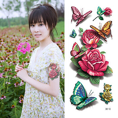 3D Body Art Glitter Temporary Tattoos Flowers Red Rose Butterfly Stickers