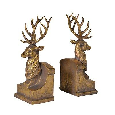 Pair of Stag Antler Head Bookends - High Quality ideal for bookcase 25cm