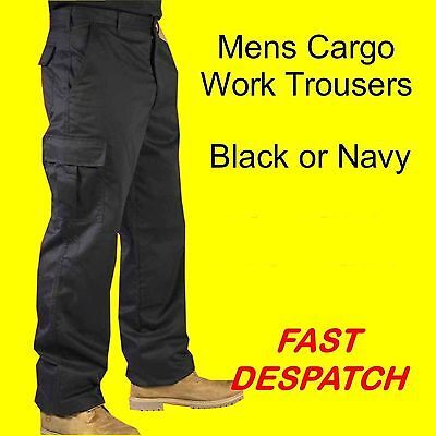 Mens Cargo Combat Work Trousers Size 30 to 46 Black and Navy