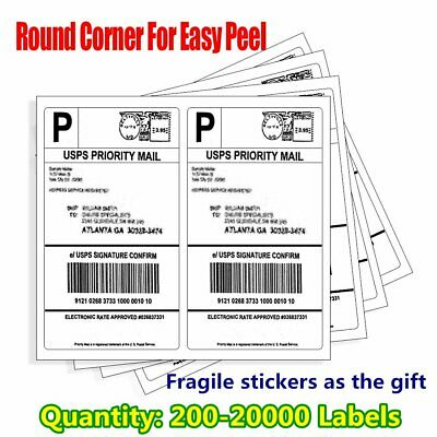 200-20000 8.5x5.5 Shipping Labels Round Corner Half Sheet Self Adhesive UPS eBay