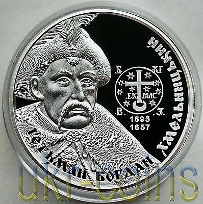 2015 Ukraine 1 Oz Silver Coin Bohdan Khmelnitsky Cossack Hetman 10 UAH Proof UNC