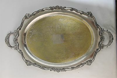 ATQ Signed Elegant Art Nouveau Oversized LARGE Silver Plate Footed Serving Tray