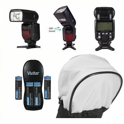 Pro Ttl Dedicated Flash + Charger + Diffuser Kit For Canon Eos Rebel T4 T4I T5