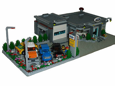 LEGO INSTRUCTIONS to build a city Ford car/truck dealer dealership NO BRICKS