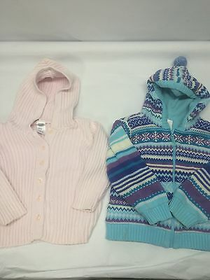 Lot Two Girls Sweaters Old Navy Wonder Kids Size 3t Pink Blue Knit
