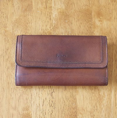 Vintage ROLFS Womens Leather Wallet Dark Brown Lots of Room for Cards