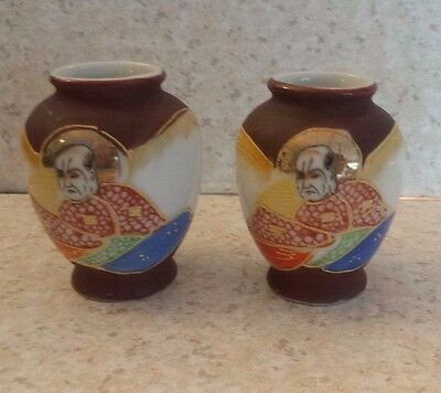 Pair Vintage Mini  Vases MADE IN OCCUPIED JAPAN Hand Painted Porcelain Moriage