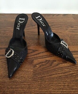Christian Dior Black Leather And Canvas Mules Pointed Toe Size 39 Stiletto Heel