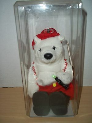 "Rare 1999 Coca-Cola Collectible Bean Bag Polar Bear ""Fireman"" - NEW IN CASE"
