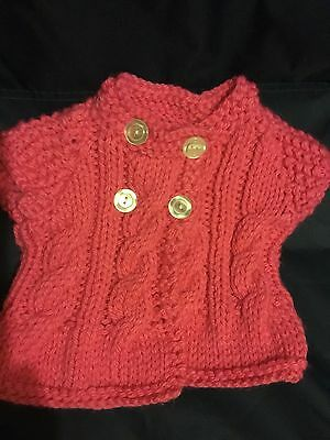 New HandMade Babies Cardigan Knitted Girls Pink 6-9 Months Cardigan Coat jacket