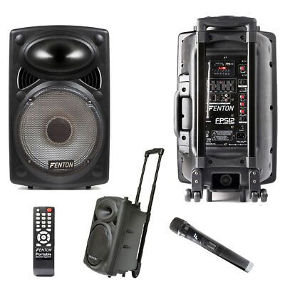 Fenton FPS12 Battery or Mains Portable Bluetooth Speaker System USB Wireless Mic