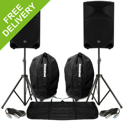 """2x Mackie Thump15 15"""" Active Powered Loud Bass DJ PA Speakers Cables Carry Bags"""