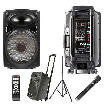 Fenton FPS12 Battery or Mains Portable PA Speaker System VHF Radio Mic USB Stand