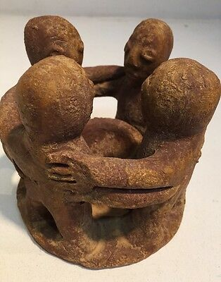 Primitive Mexican Red Clay Circle Of Friends Candle Holder Decorative Statue