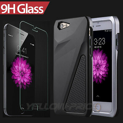 """Heacy Duty Hybrid Rubber Hard Armor Case+Real Glass Film for iPhone 6 6S 4.7"""""""