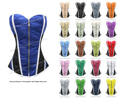 100% Full Steel Boned Heavy Lacing Satin Overbust Shaper Corset #8106-WT-SA