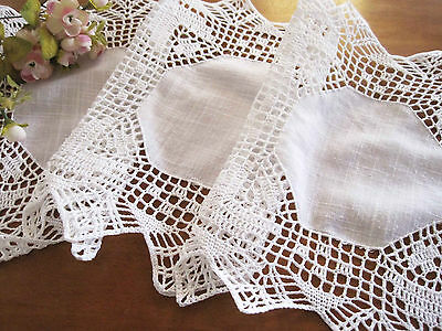 Vintage Style Elegant Hand Crochet Patch Cotton White Table Runner