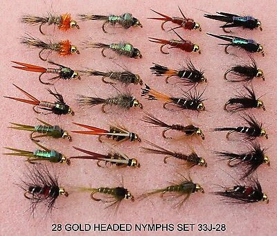Trout Fishing Flies GOLD HEADED NYMPHS 33J-28 10 12 14 HOOK Barbed Barbless