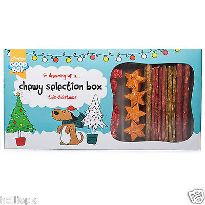Good Boy Christmas Chewy Selection Box Xmas Rawhide Treats Dog & Puppy 4 Months