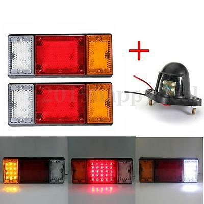 2x 12V 49 LED Rear Tail Stop Lamps Indicator Light Truck Trailer 1X Number Plate