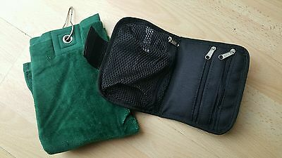 New Golf Black Green Tri-fold Towel clips to bag & Wallet Free p&p UK