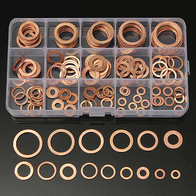 150Pcs Assorted Sump Plug Solid Copper Washer Set Tap Plumbing Garage Engine Kit