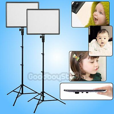 2X CN-Luxpad43 Ultra Slim 3200K-5600K LED Photo Video Light Panel + 2X 2M Stand