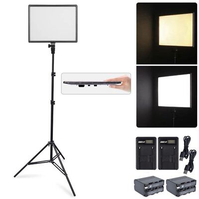 CN-Luxpad43 SLIM LED Video Light Panel + 2m Stand + 2X Battery + 2X USB Charger