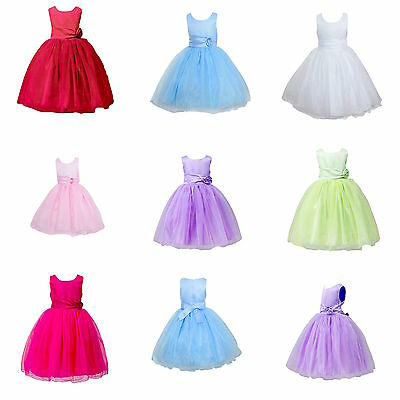 Girls Rose Dress Flower Princess Sleeveless Formal Party Wedding Bridesmaid