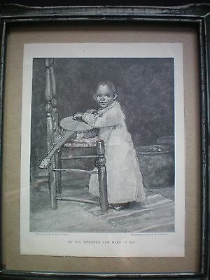 "Antique African American Print in Frame ""MY BIG BRUDDER CAN MAKE IT GO"""