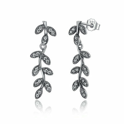 Wostu Authentic S925 Sterling Silver Sparkling Leaves Earrings & Clear CZ Women