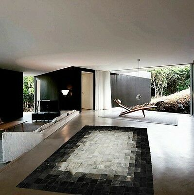 NEW Cowhide Rug Patchwork Cowskin Cow Hide Leather Carpet. Black and Gray.