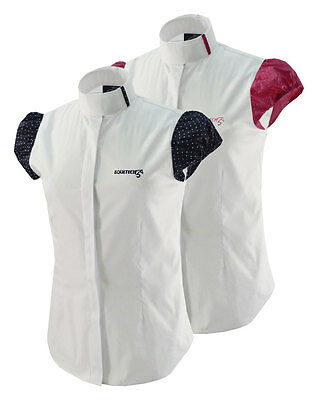 Equetech Ladies Dotty Horse Riding Competition Shirt - White/Navy or Pink Spot