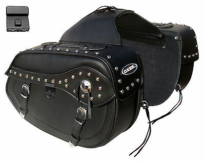 Oxide Titus Real Leather Saddle Bags 2 x 15L Motorcycle Panniers
