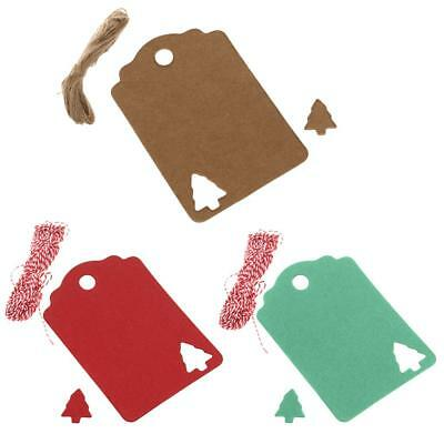 100pcs Kraft Paper Christmas Tree Gift Parcel Tags Label Luggage + Strings