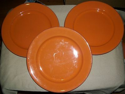 "Lot of 3 Collectible Val Do Sol Dinner Plates - Portugal - Burnt Orange- 11""D"