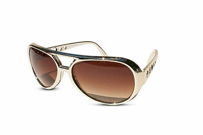 New Classic ELVIS PRESLEY Sunglasses LAS VEGAS COSTUME GOLD USA Glasses