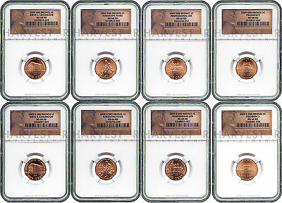 2009 P&d Lincoln Cent 8-Coin Set Ngc Ms68 Rd Sms Bronze - Lincoln Bicentennial